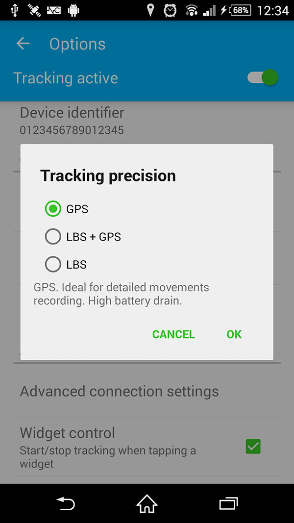 GPS Tracker - Location modes