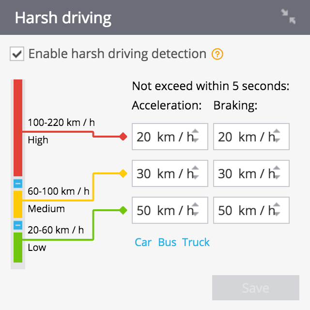 Settings for Eco Driving