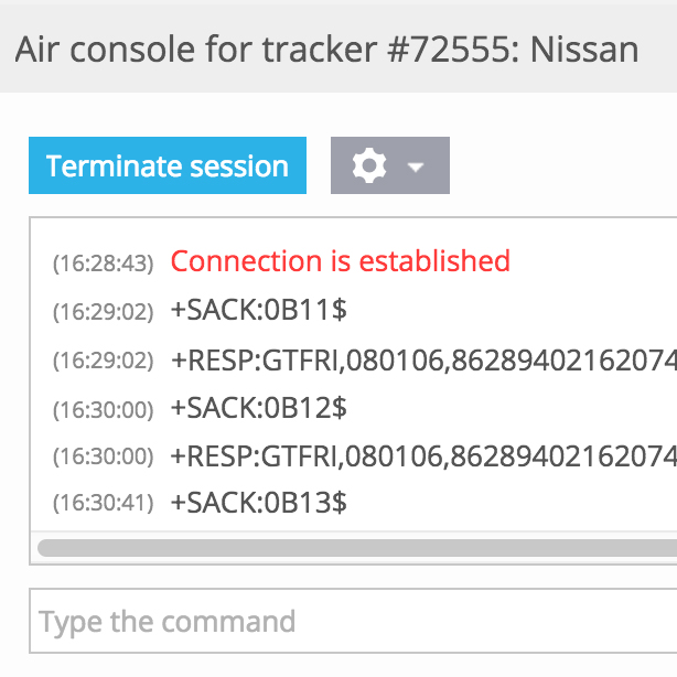 Air console for GPS tracker configuration