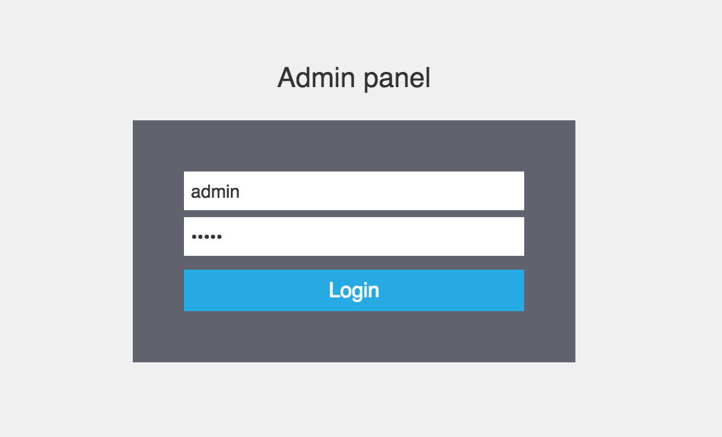 Use admin/admin to access Admin panel for the first time