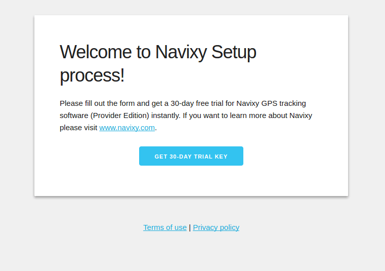 Start trial of Navixy cloud