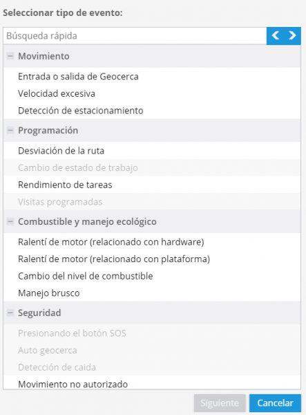 Lista de notificaciones de Navixy. Las notificaciones vía SMS están disponibles para cualquier tipo de evento.