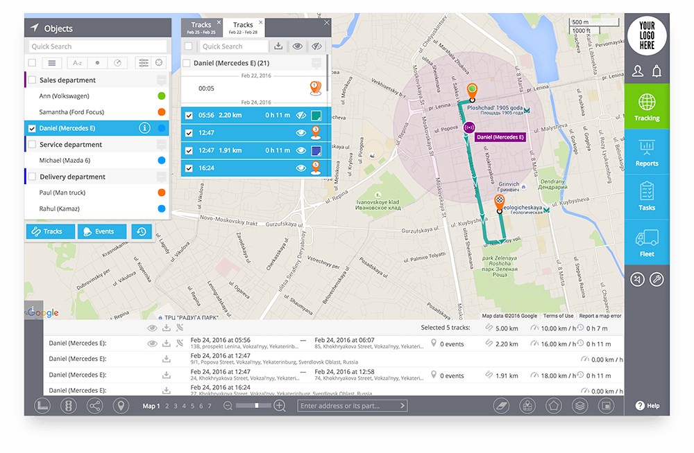 Modern web interface in GPS tracking