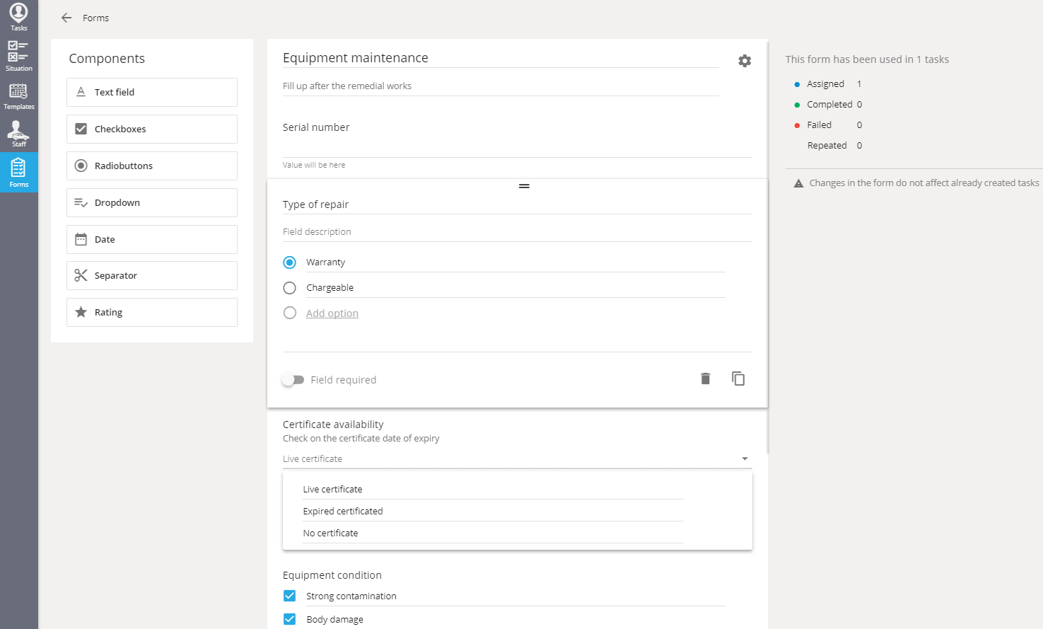 Create forms for specific tasks