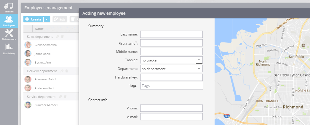 Create an employee card and then identify the driver