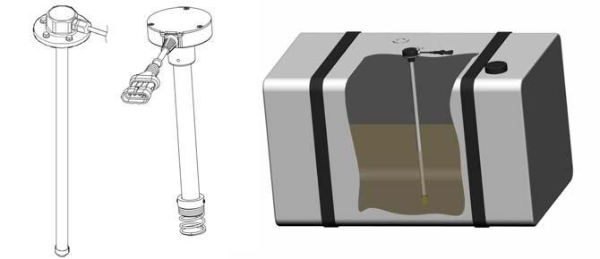 Corte lateral de tanque de combustible con un SNC Capacitivo