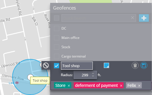 Find geofences by tags
