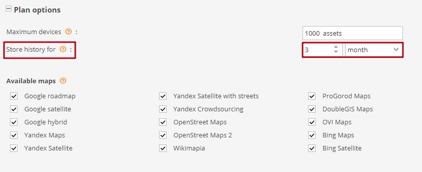 Admin Panel - Plan options