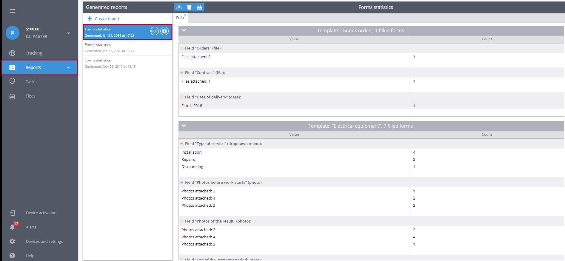 Task form values