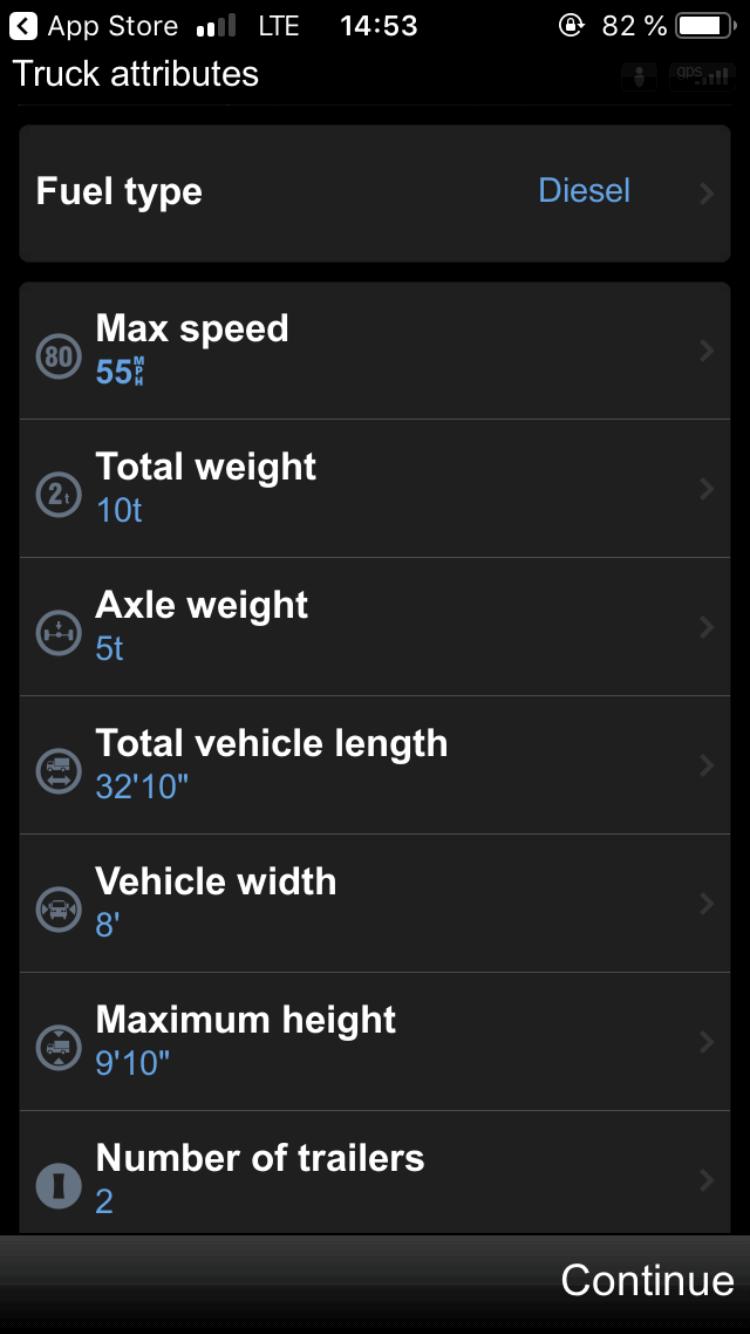 Truck attributes
