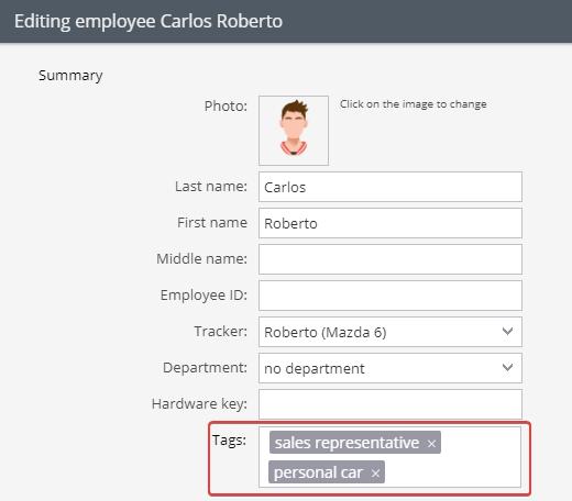 Etiquetas de funcionários