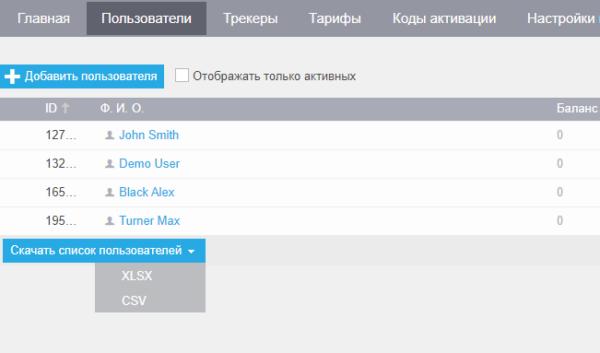Выгрузка списка пользователей