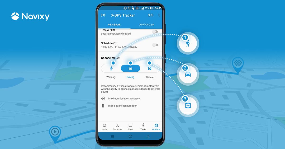 App X-GPS Tracker: modos de geolocalização inteligentes