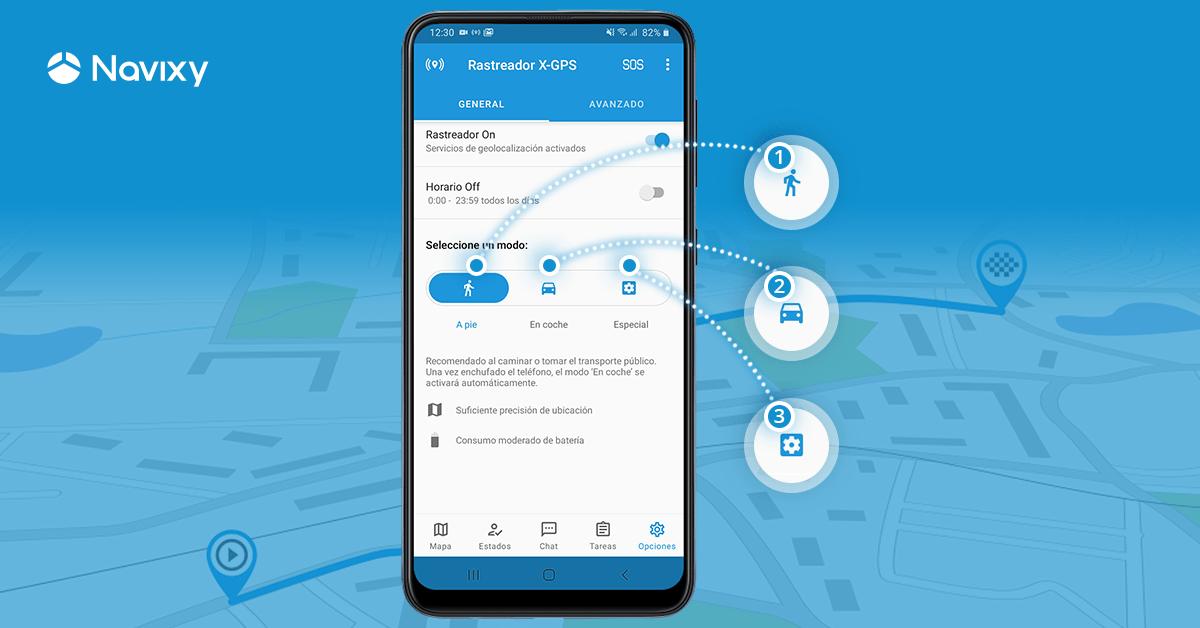 App X-GPS Tracker: los modos de geolocalización inteligentes