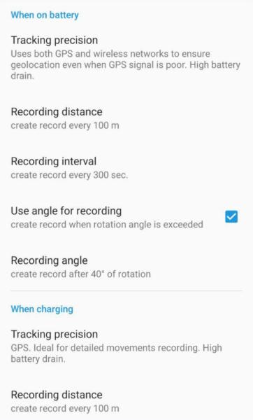Configurações do aplicativo X-GPS Tracker