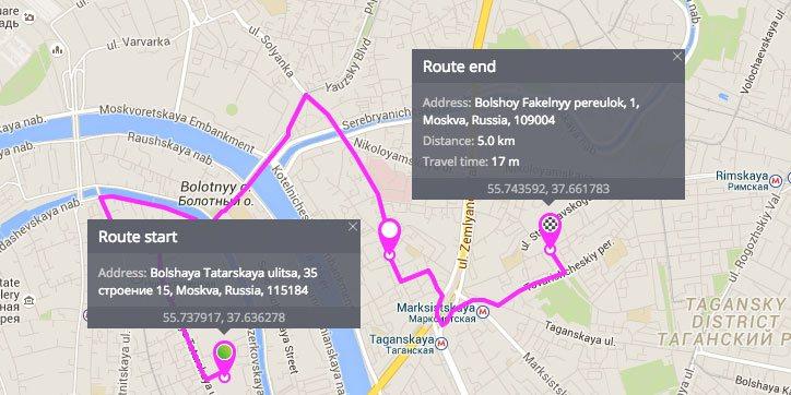 Прокладка маршрута в системе GPS-мониторинга Navixy