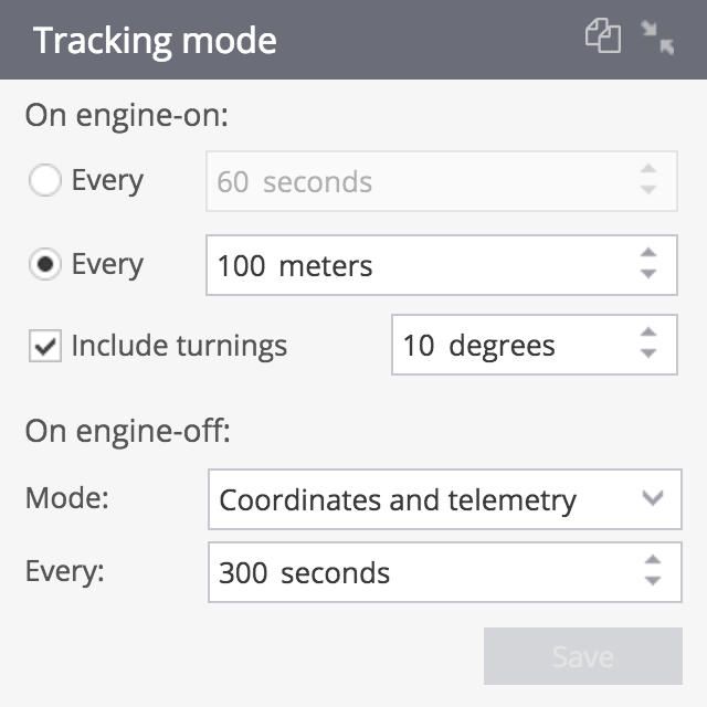 Setting for GPS tracking mode