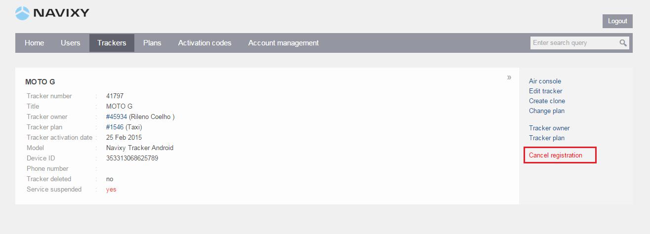 Cancel-tracker-registration