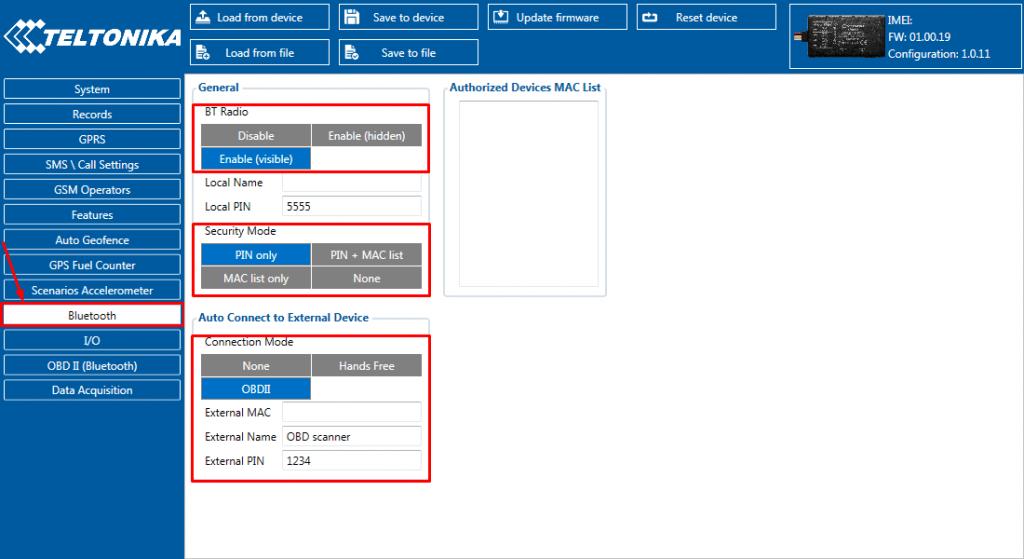 La sección Bluetooth en FMB Configurator